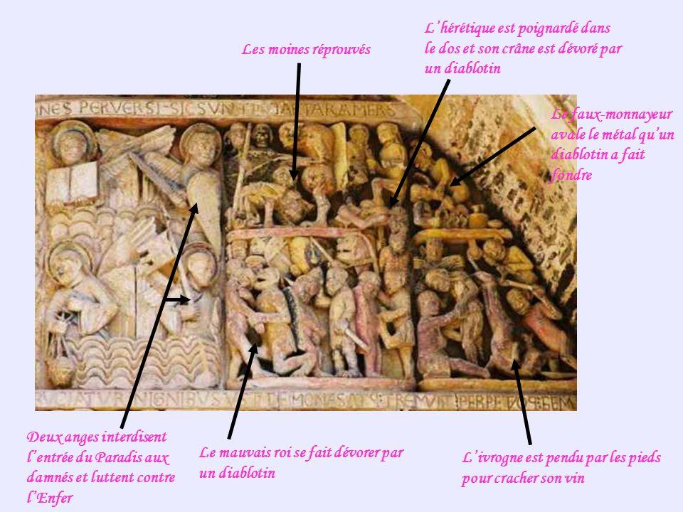 Les moines réprouvés Lhérétique est poignardé dans le dos et son crâne est dévoré par un diablotin Le faux-monnayeur avale le métal quun diablotin a f