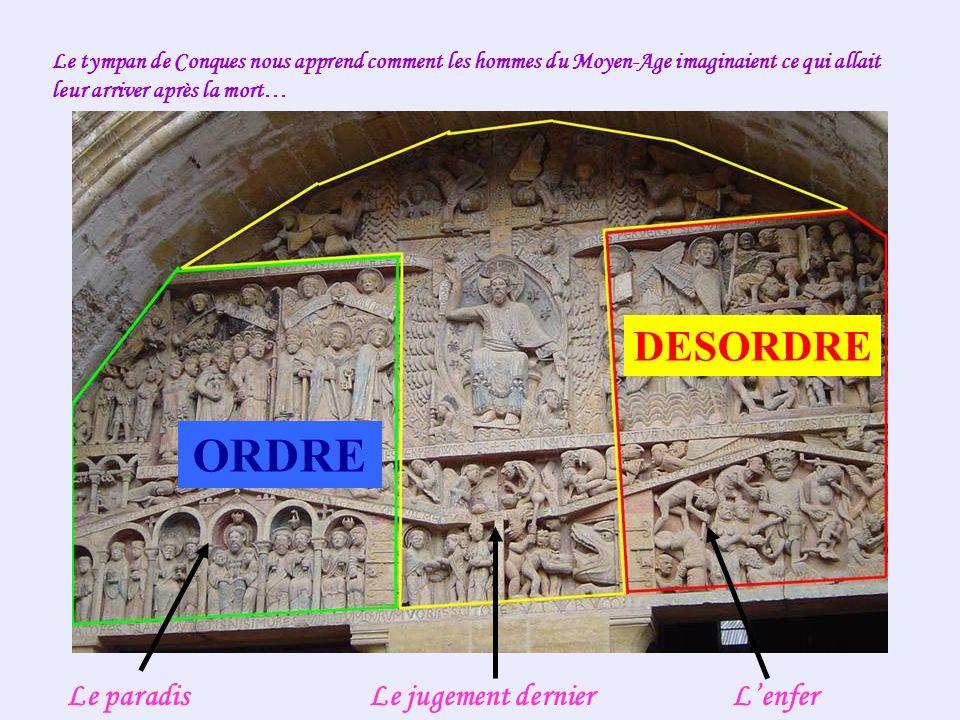 Le tympan de Conques nous apprend comment les hommes du Moyen-Age imaginaient ce qui allait leur arriver après la mort… Le paradisLe jugement dernierLenfer ORDRE DESORDRE