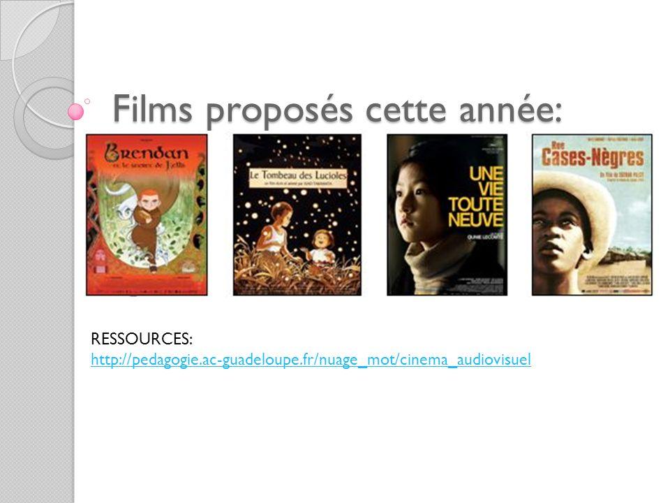 Films proposés cette année: RESSOURCES: http://pedagogie.ac-guadeloupe.fr/nuage_mot/cinema_audiovisuel