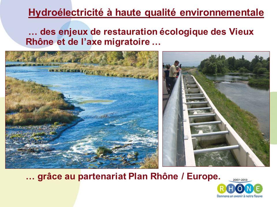 Hydroélectricité à haute qualité environnementale … des enjeux de restauration écologique des Vieux Rhône et de laxe migratoire … … grâce au partenariat Plan Rhône / Europe.