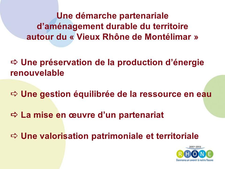 Une préservation de la production dénergie renouvelable Une gestion équilibrée de la ressource en eau La mise en œuvre dun partenariat Une valorisation patrimoniale et territoriale Une démarche partenariale daménagement durable du territoire autour du « Vieux Rhône de Montélimar »