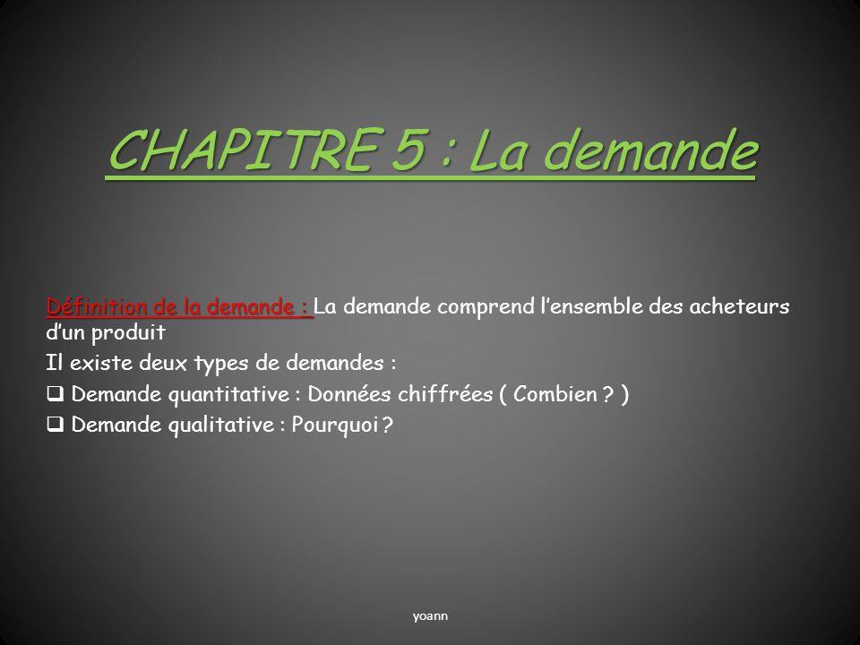 CHAPITRE 5 : La demande Définition de la demande : Définition de la demande : La demande comprend lensemble des acheteurs dun produit Il existe deux t