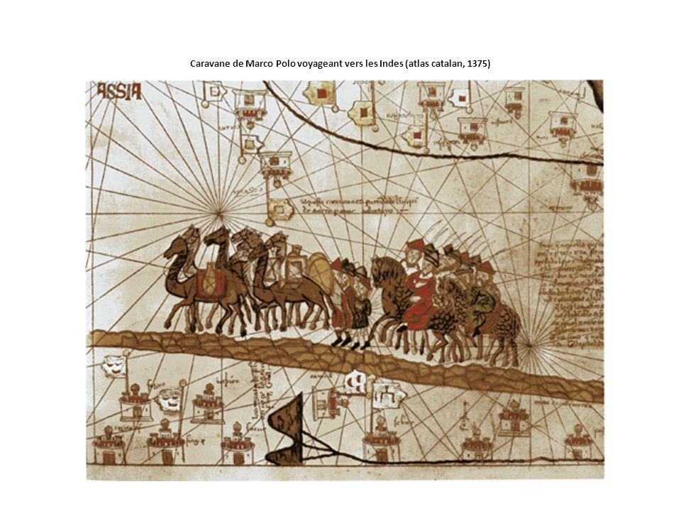 Caravane de Marco Polo voyageant vers les Indes (atlas catalan, 1375)