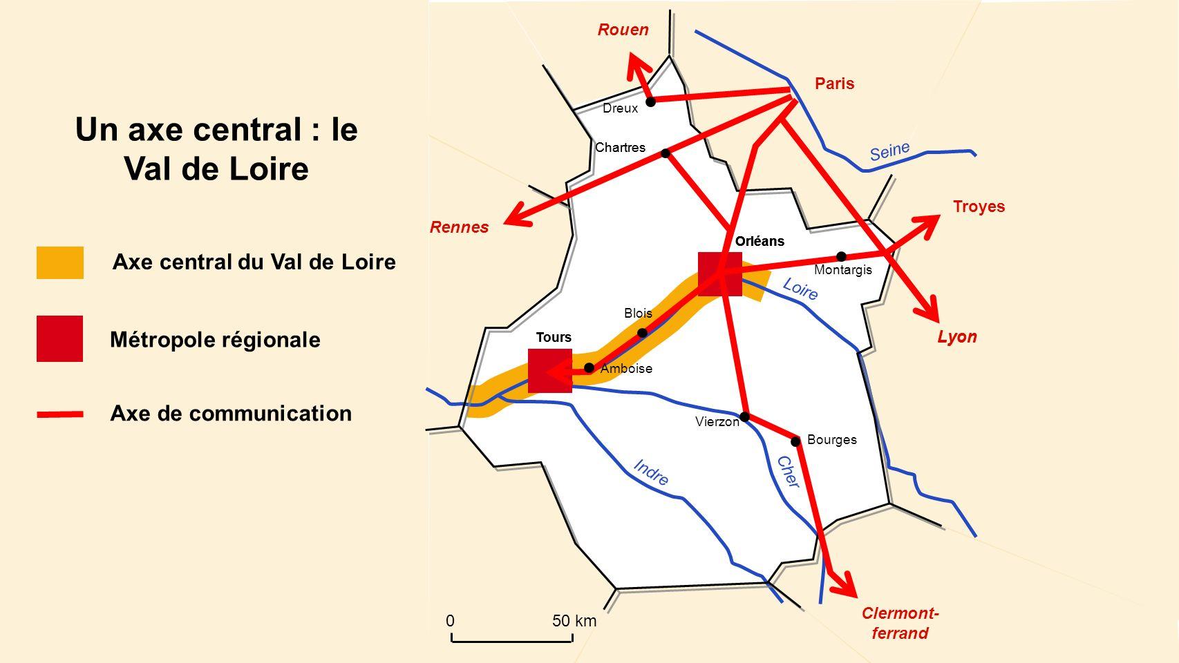 Lyon Chartres Loire Cher Indre Seine Un axe central : le Val de Loire Axe central du Val de Loire Métropole régionale Axe de communication Orléans Tou
