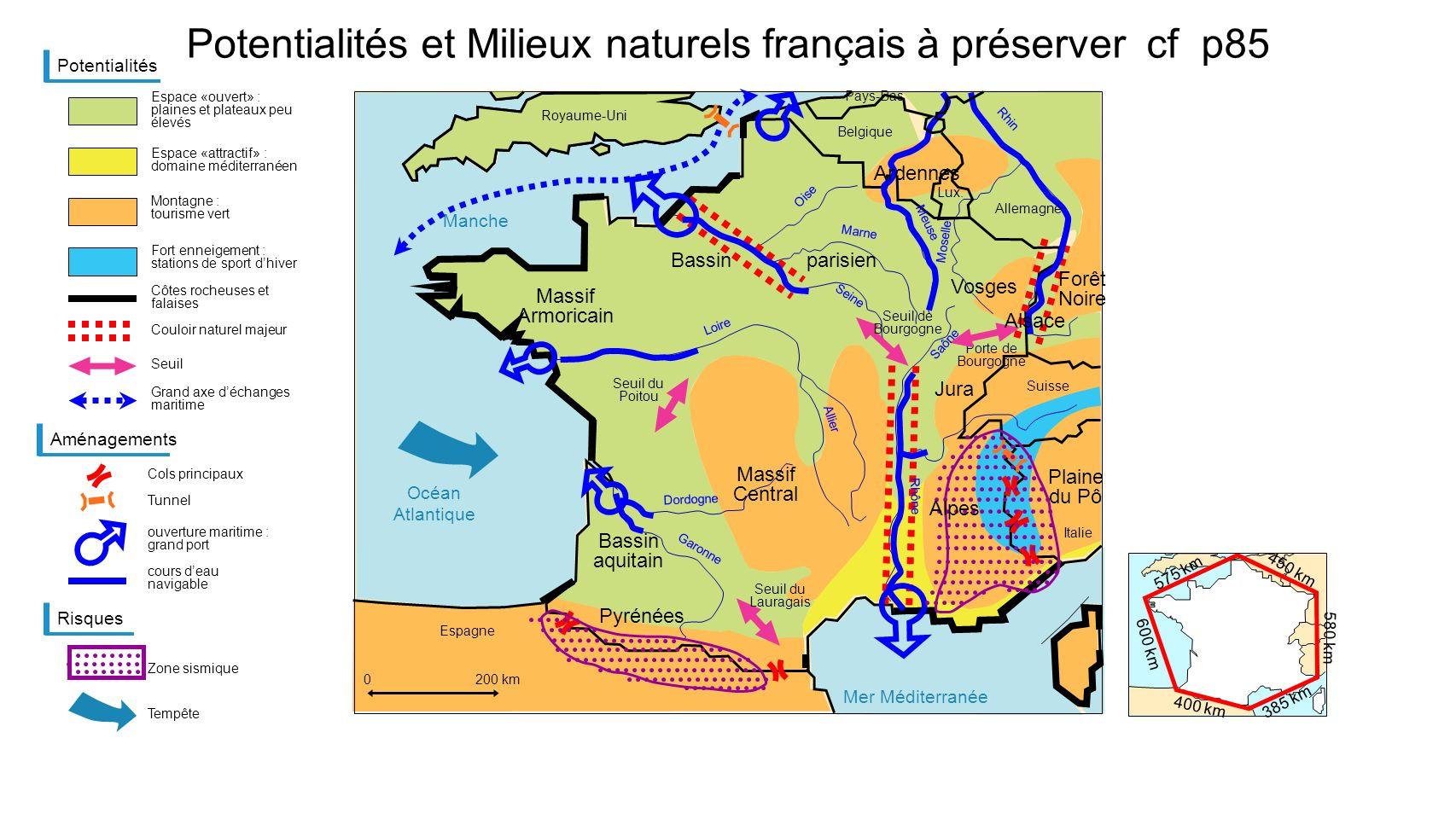 Potentialités et Milieux naturels français à préserver cf p85 Potentialités Espace «ouvert» : plaines et plateaux peu élevés 0100 km Espace «attractif