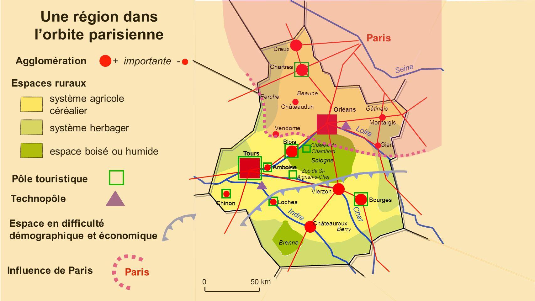 Dreux Loire Cher Indre Seine 050 km Une région dans lorbite parisienne Agglomération + importante - Bourges Blois Châteauroux Amboise Chartres Montarg