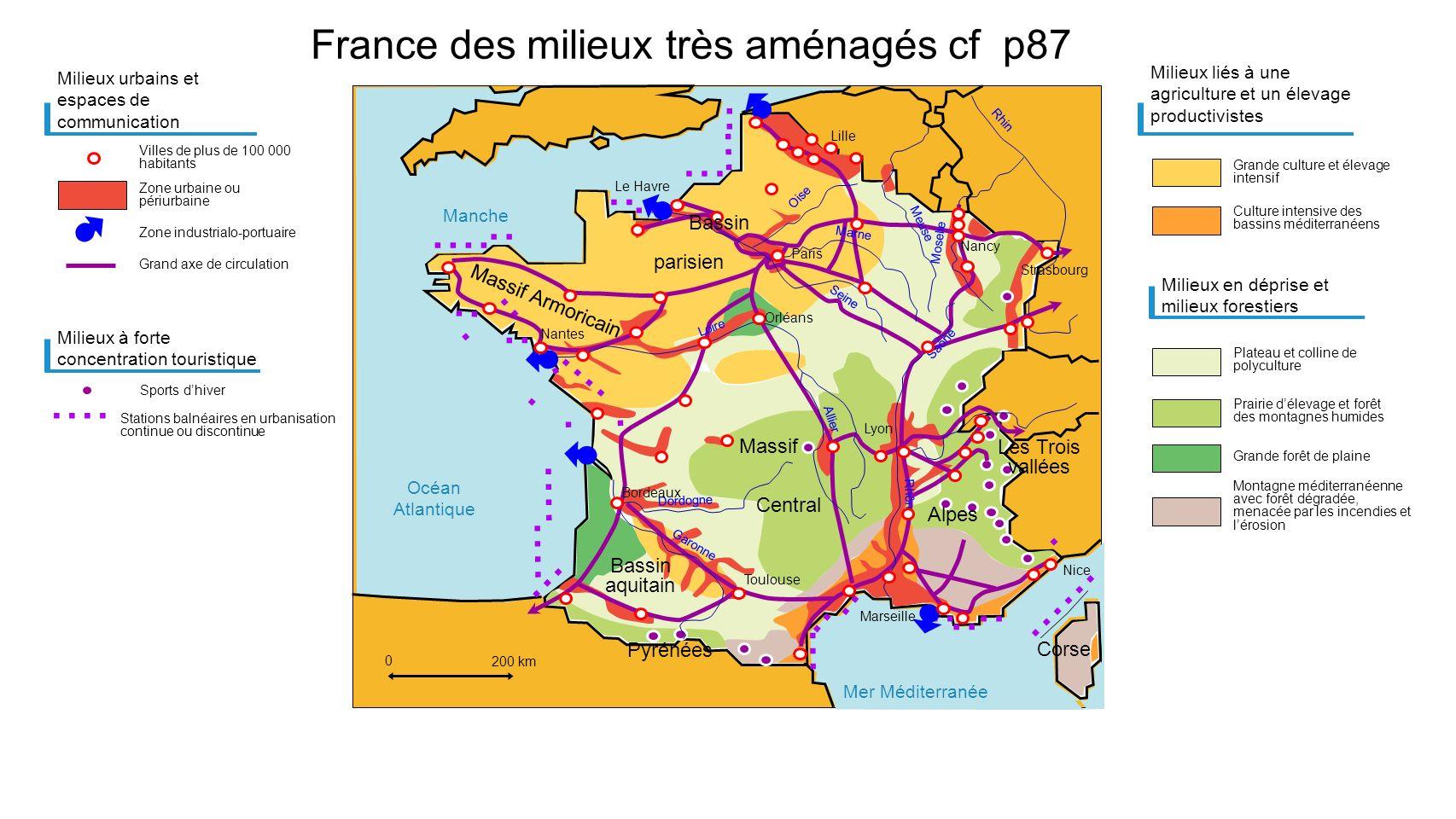 Mer Méditerranée Manche Océan Atlantique................................................. France des milieux très aménagés cf p87 Milieux urbains et e