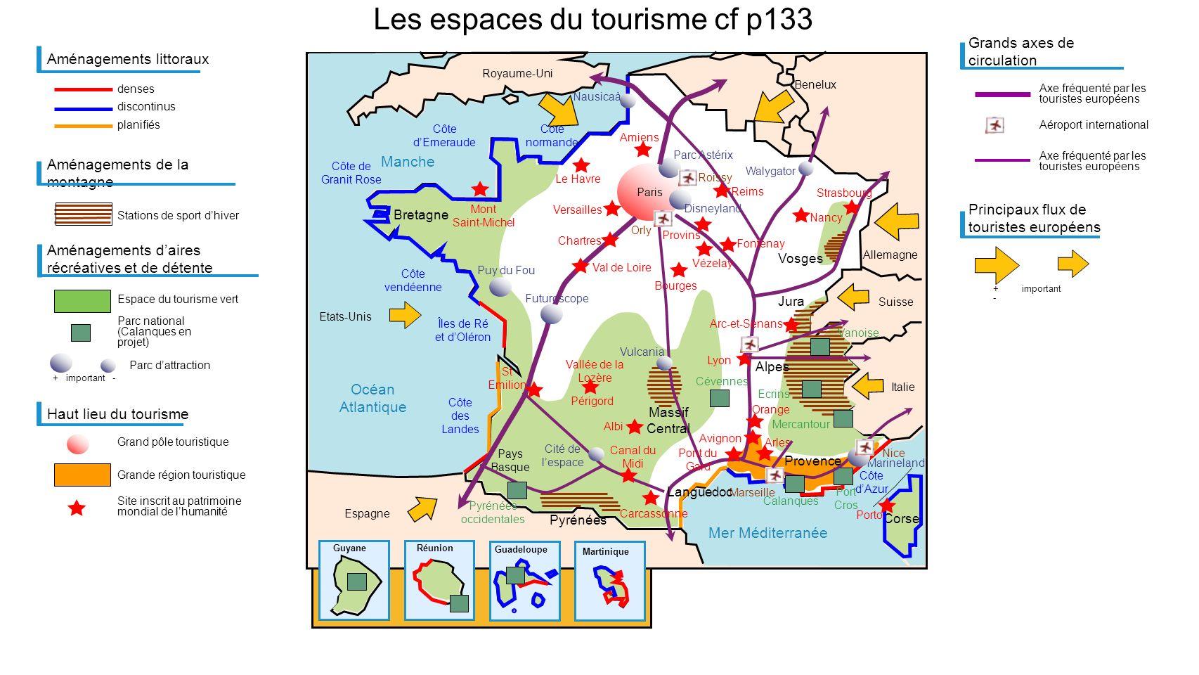 Mer Méditerranée Manche Océan Atlantique Bretagne Les espaces du tourisme cf p133 Vosges Pays Basque Marseille Aménagements littoraux denses planifiés