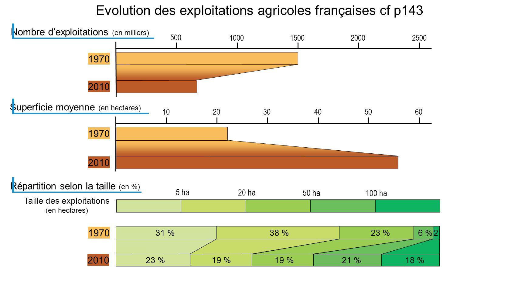 Taille des exploitations (en hectares) 5 ha 20 ha 50 ha 100 ha Evolution des exploitations agricoles françaises cf p143 500 1000150020002500 Nombre de