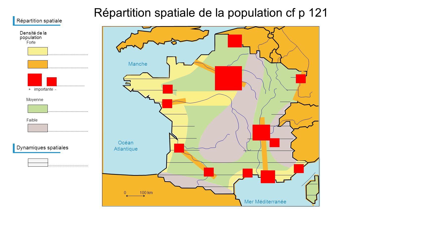 Mer Méditerranée Manche Océan Atlantique Répartition spatiale de la population cf p 121 Répartition spatiale Densité de la population Forte + importan