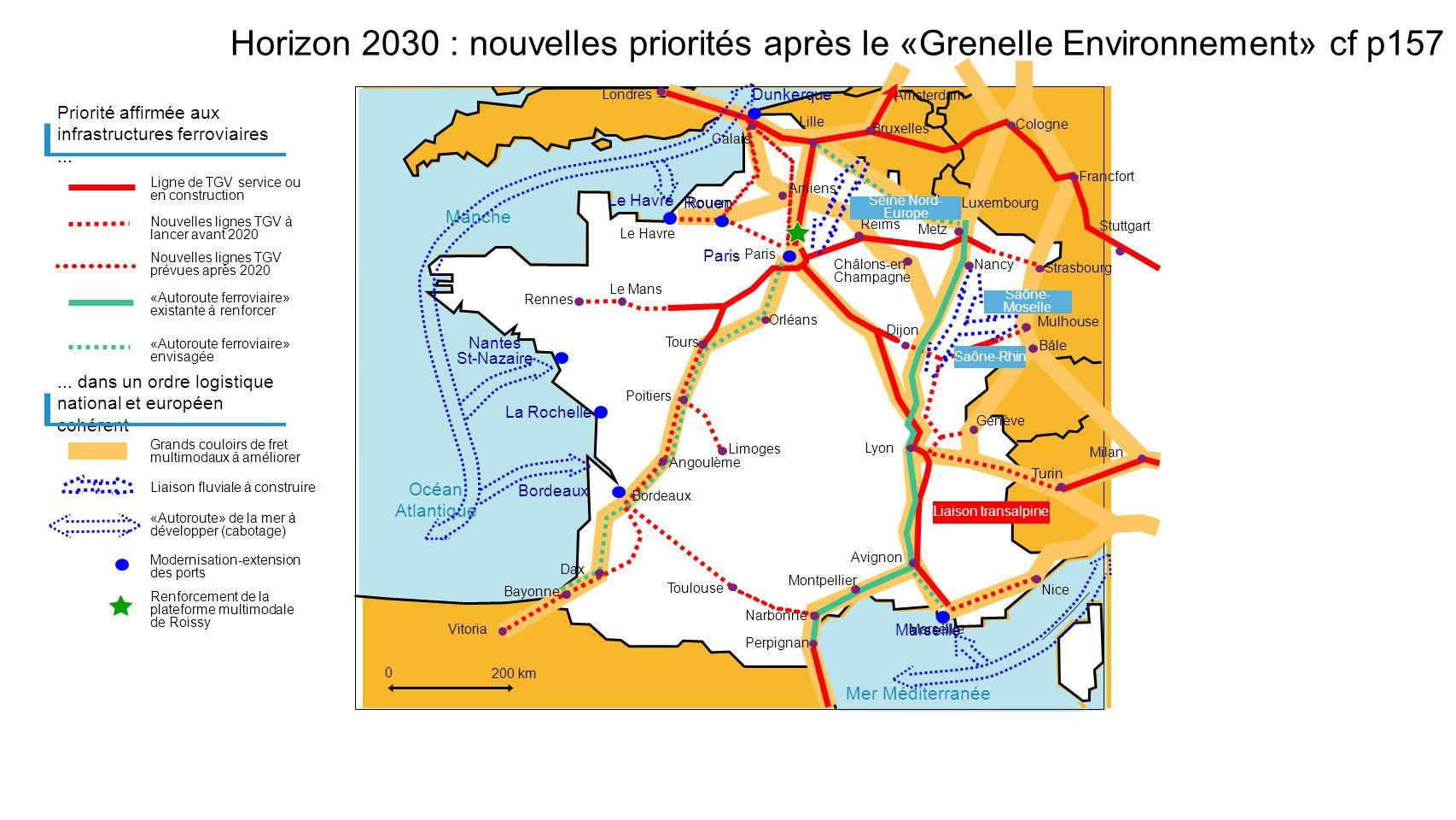 Mer Méditerranée Manche Océan Atlantique Horizon 2030 : nouvelles priorités après le «Grenelle Environnement» cf p157 Priorité affirmée aux infrastruc