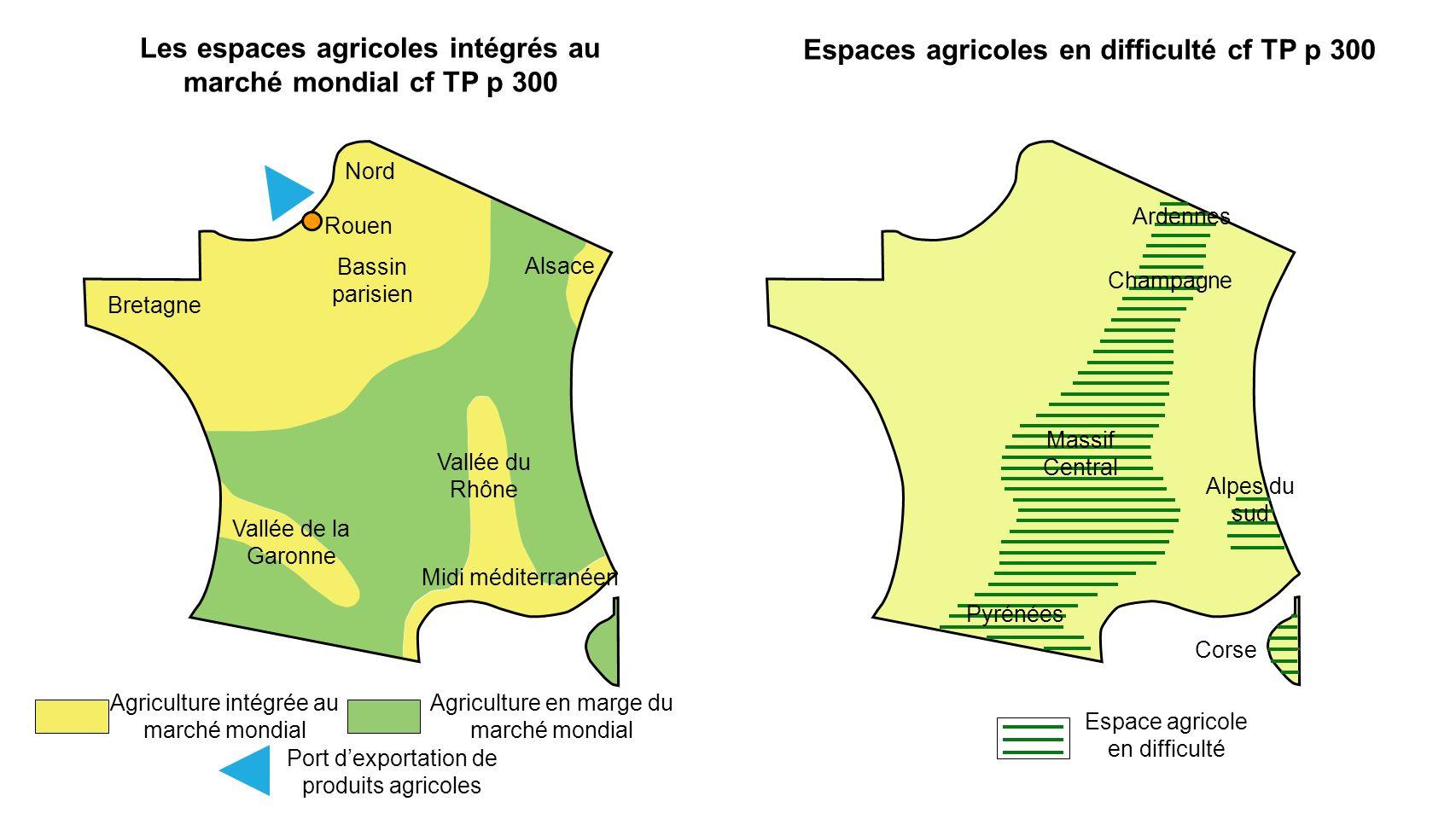 Nord Bassin parisien Bretagne Alsace Vallée du Rhône Midi méditerranéen Vallée de la Garonne Rouen Agriculture intégrée au marché mondial Agriculture