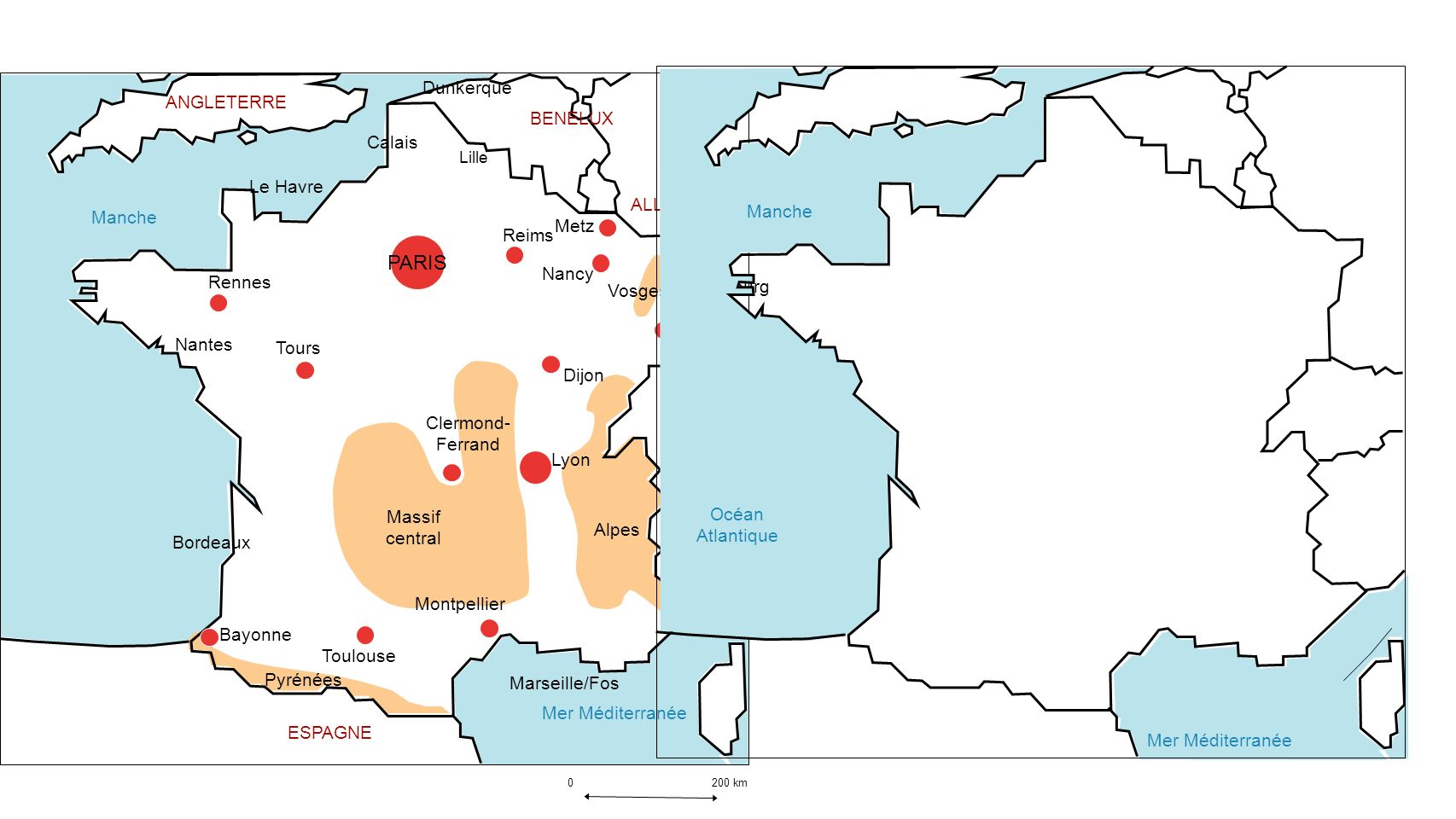 0 200 km Mer Méditerranée Manche Massif central Alpes Pyrénées Vosges ANGLETERRE BENELUX ALLEMAGNE ESPAGNE ITALIE SUISSE PARIS Lille Strasbourg Lyon R