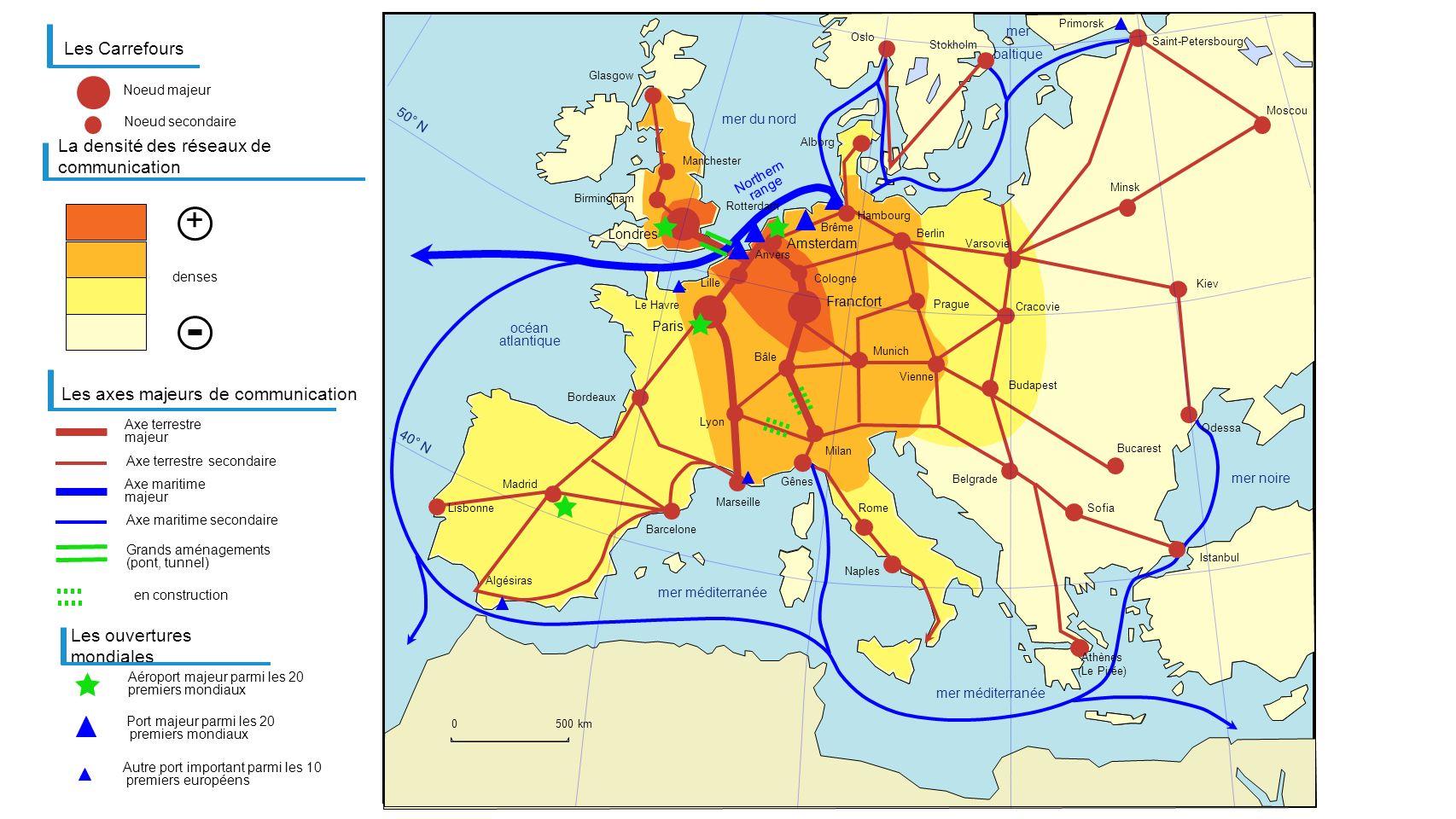 Francfort Paris Londres Les Carrefours Aéroport majeur parmi les 20 premiers mondiaux La densité des réseaux de communication Les axes majeurs de comm