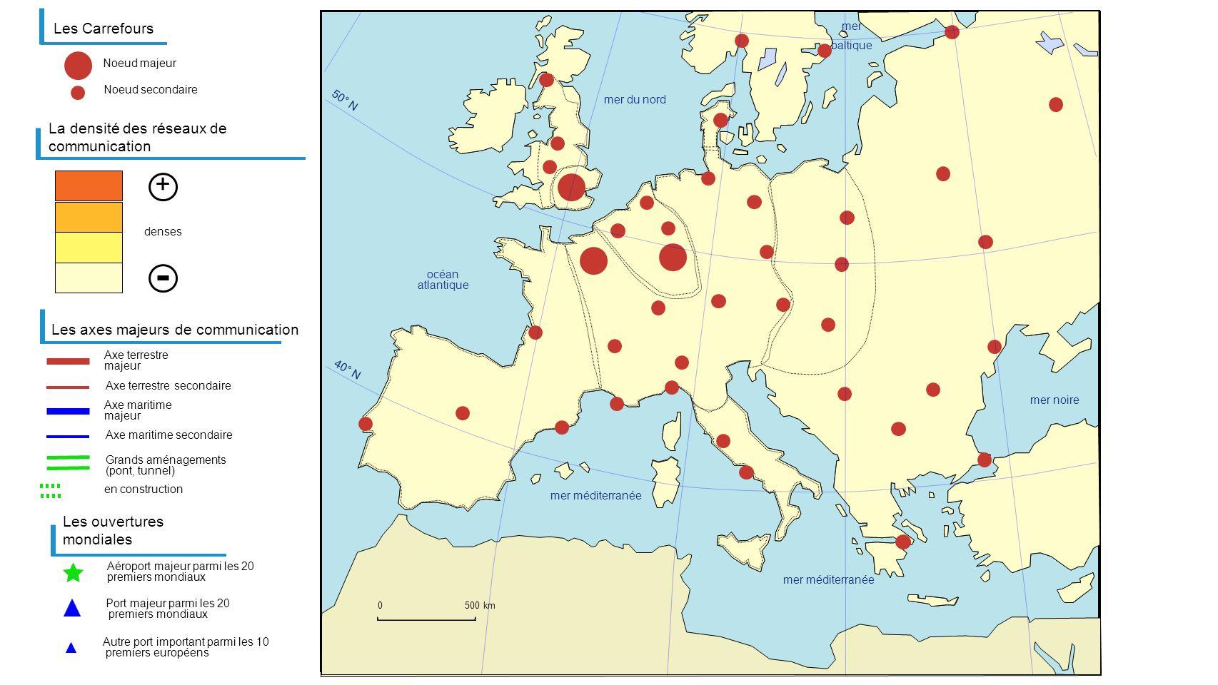 Les Carrefours Aéroport majeur parmi les 20 premiers mondiaux La densité des réseaux de communication Les axes majeurs de communication Axe terrestre