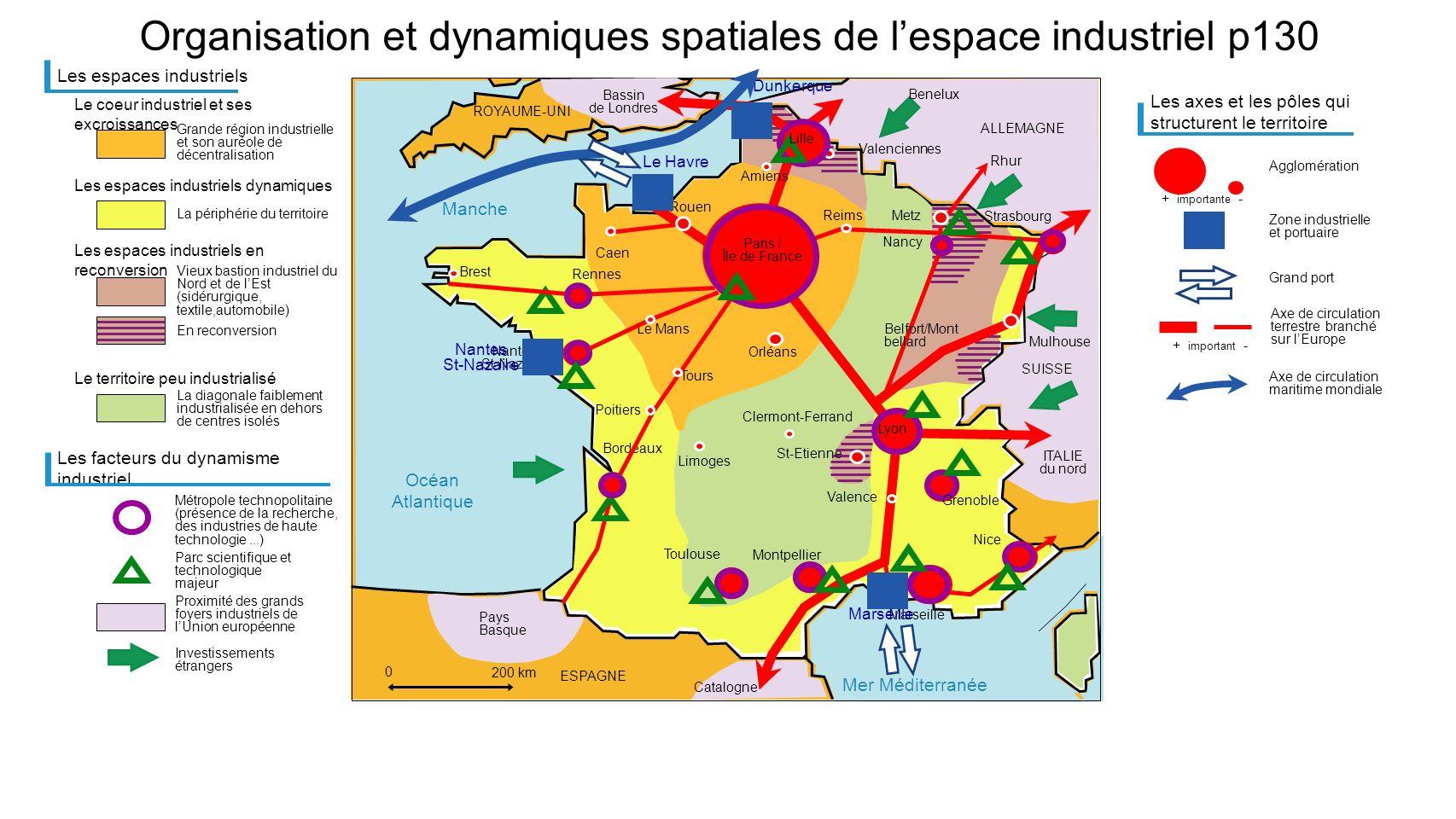 Mer Méditerranée Manche Océan Atlantique Organisation et dynamiques spatiales de lespace industriel p130 Les espaces industriels Grande région industr