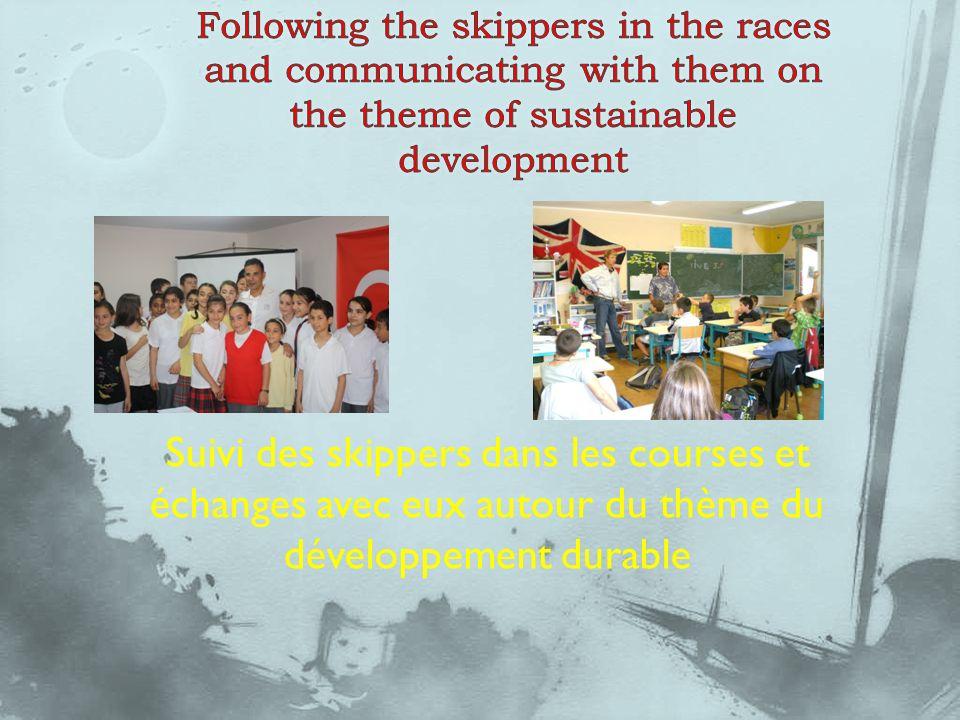 Suivi des skippers dans les courses et échanges avec eux autour du thème du développement durable