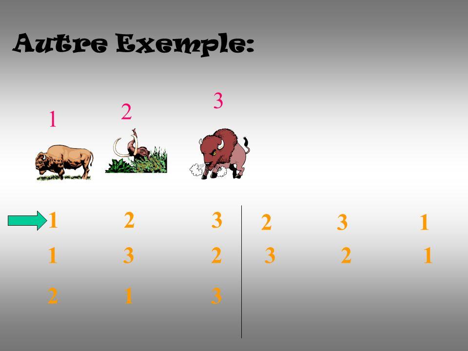 Autre Exemple: 1 2 3 1 2 3 1 3 2 2 1 3 2 3 1 3 2 1
