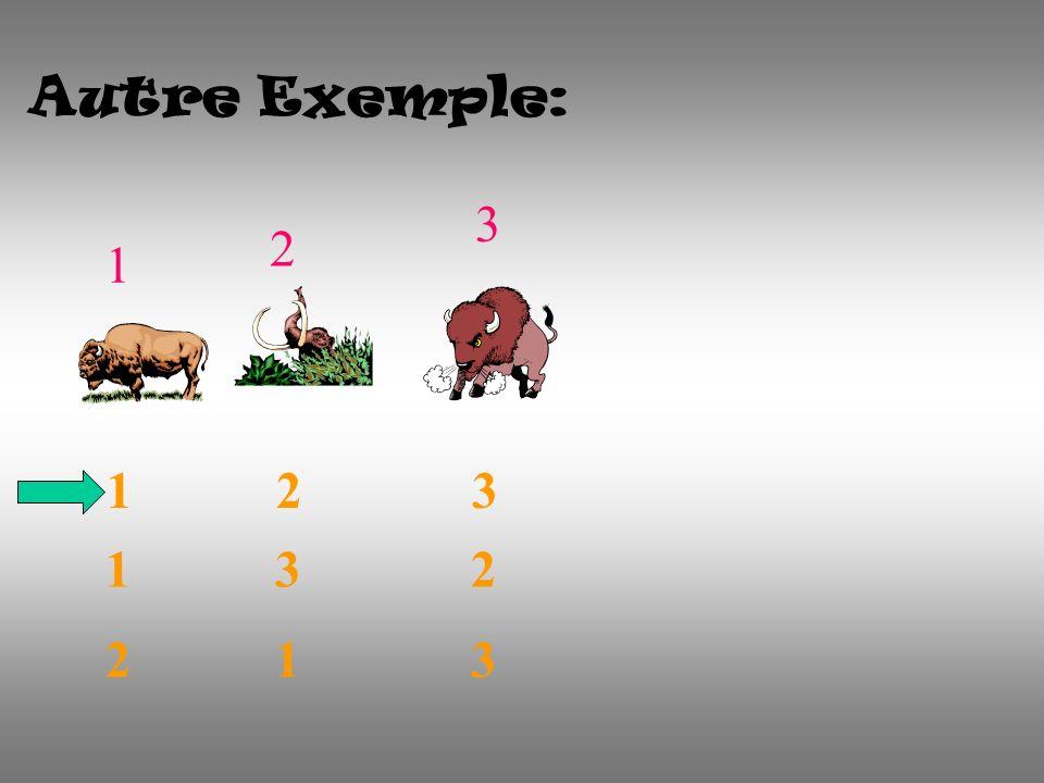 Autre Exemple: 1 2 3 1 2 3 1 3 2 2 1 3