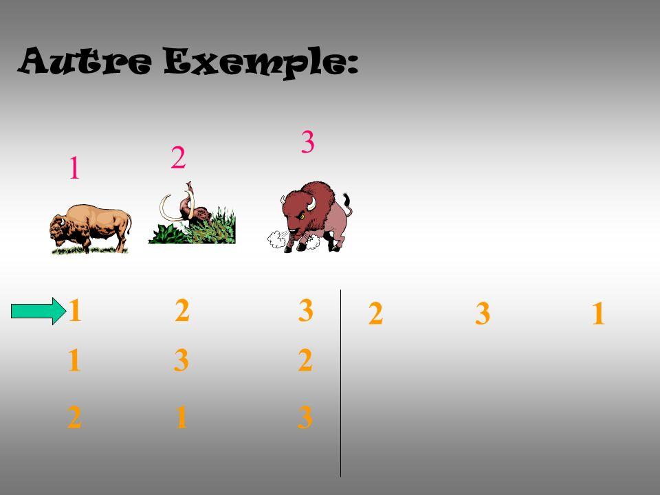 Autre Exemple: 1 2 3 1 2 3 1 3 2 2 1 3 2 3 1
