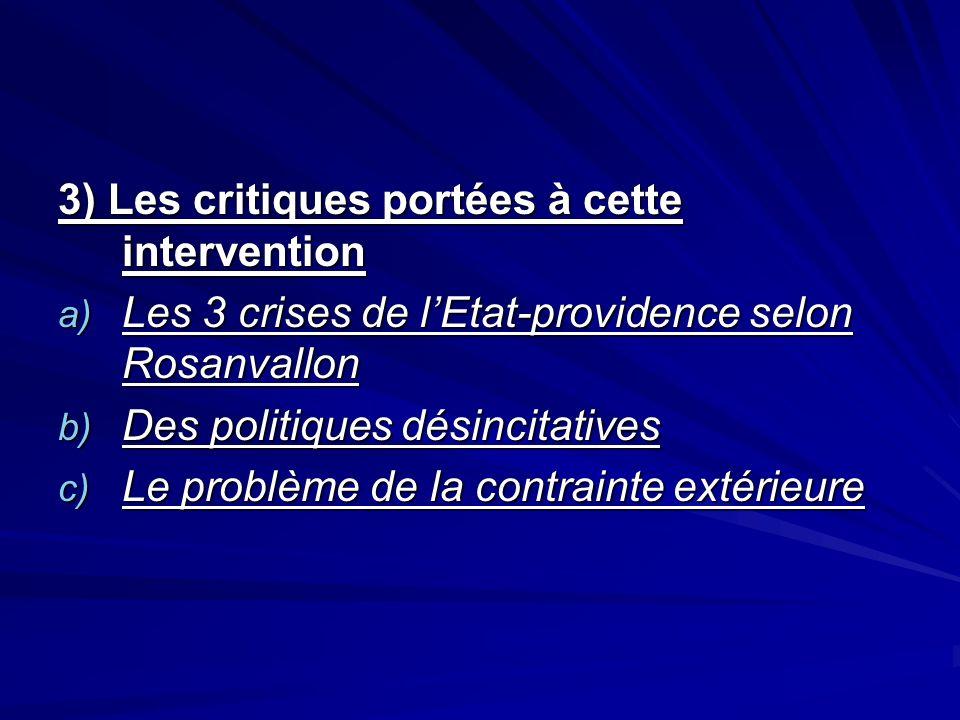 3) Les critiques portées à cette intervention a) Les 3 crises de lEtat-providence selon Rosanvallon b) Des politiques désincitatives c) Le problème de