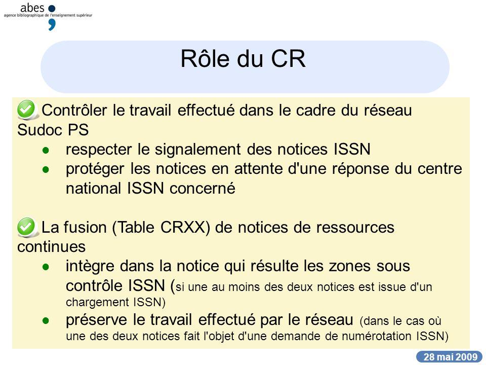 28 mai 2009 Rôle du CR Contrôler le travail effectué dans le cadre du réseau Sudoc PS respecter le signalement des notices ISSN protéger les notices e