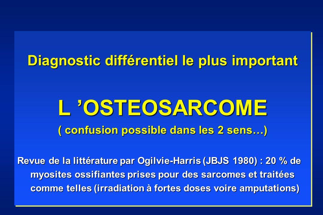 Diagnostic différentiel le plus important L OSTEOSARCOME ( confusion possible dans les 2 sens…) Revue de la littérature par Ogilvie-Harris (JBJS 1980) : 20 % de myosites ossifiantes prises pour des sarcomes et traitées myosites ossifiantes prises pour des sarcomes et traitées comme telles (irradiation à fortes doses voire amputations) comme telles (irradiation à fortes doses voire amputations) Diagnostic différentiel le plus important L OSTEOSARCOME ( confusion possible dans les 2 sens…) Revue de la littérature par Ogilvie-Harris (JBJS 1980) : 20 % de myosites ossifiantes prises pour des sarcomes et traitées myosites ossifiantes prises pour des sarcomes et traitées comme telles (irradiation à fortes doses voire amputations) comme telles (irradiation à fortes doses voire amputations)