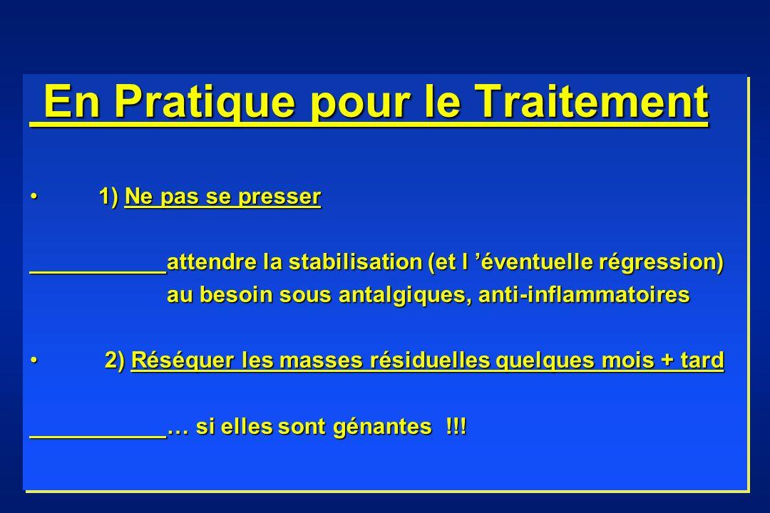 En Pratique pour le Traitement En Pratique pour le Traitement 1) Ne pas se presser1) Ne pas se presser attendre la stabilisation (et l éventuelle régr