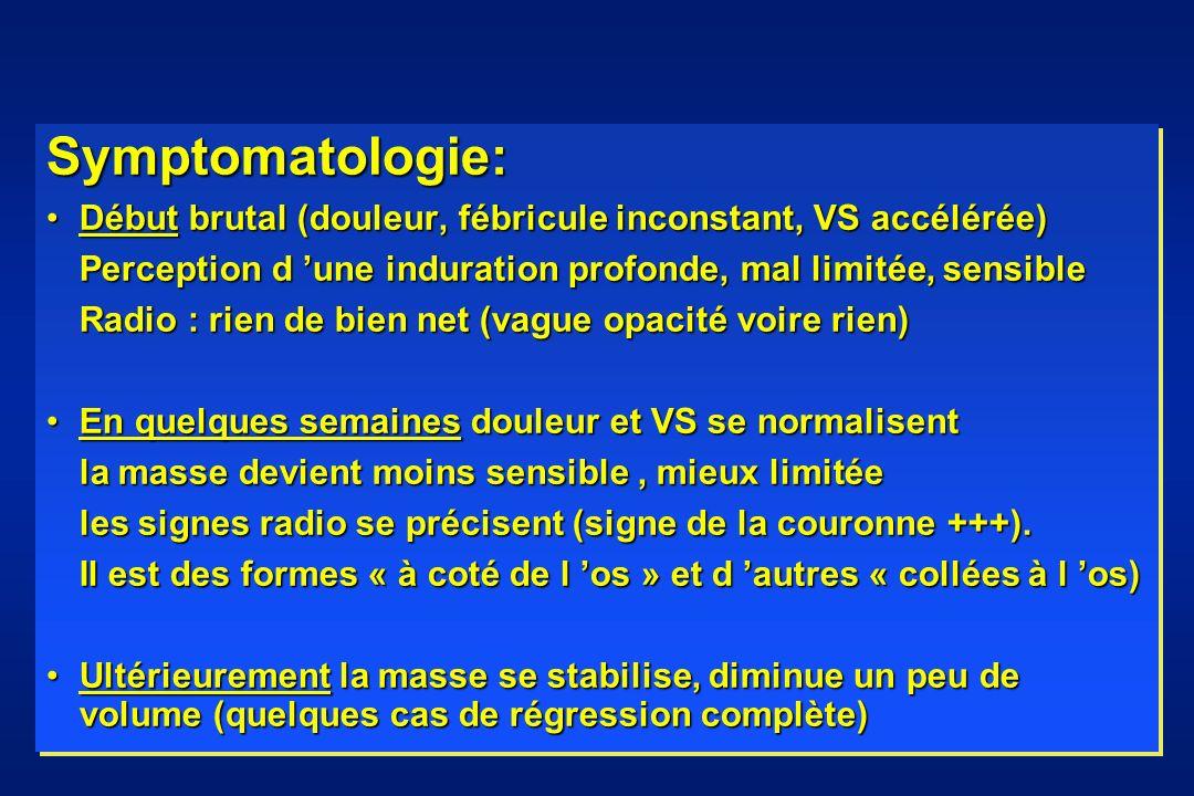Symptomatologie: Début brutal (douleur, fébricule inconstant, VS accélérée)Début brutal (douleur, fébricule inconstant, VS accélérée) Perception d une