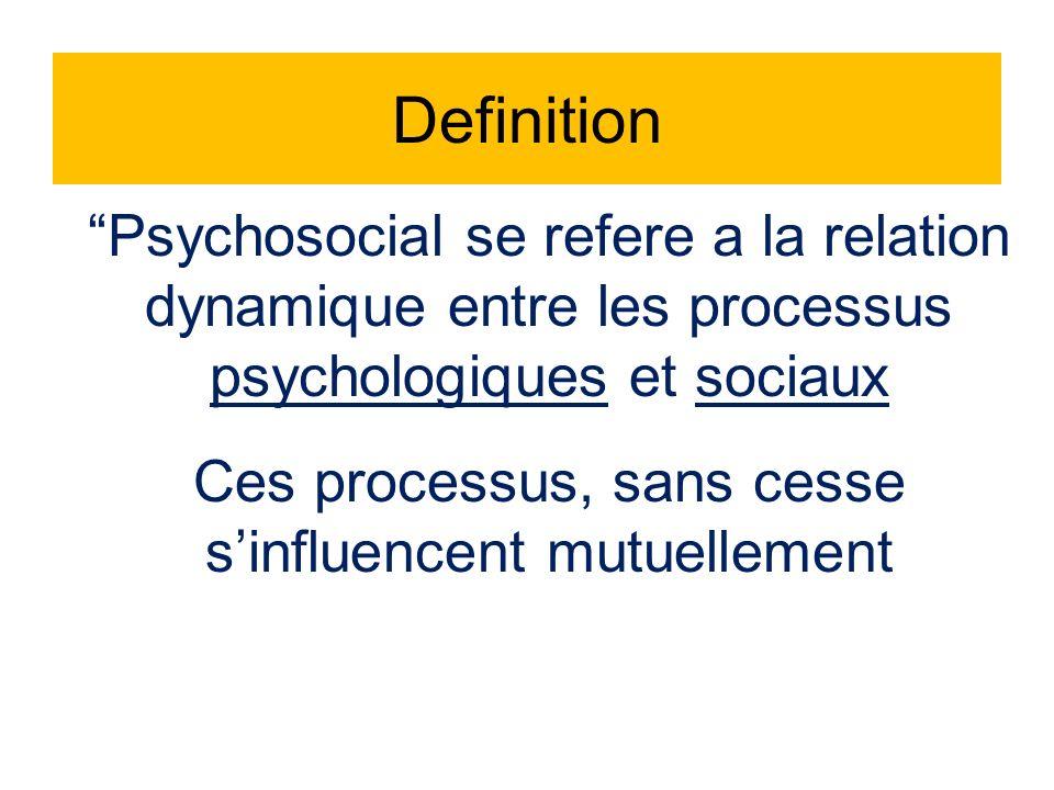 Psychosocial se refere a la relation dynamique entre les processus psychologiques et sociaux Ces processus, sans cesse sinfluencent mutuellement Definition