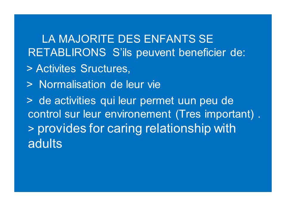 LA MAJORITE DES ENFANTS SE RETABLIRONS Sils peuvent beneficier de: > Activites Sructures, > Normalisation de leur vie > de activities qui leur permet uun peu de control sur leur environement (Tres important).