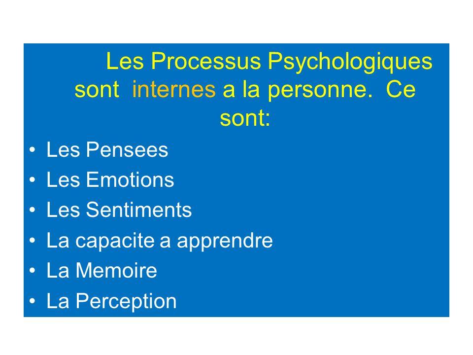 Les Processus Psychologiques sont internes a la personne. Ce sont: Les Pensees Les Emotions Les Sentiments La capacite a apprendre La Memoire La Perce