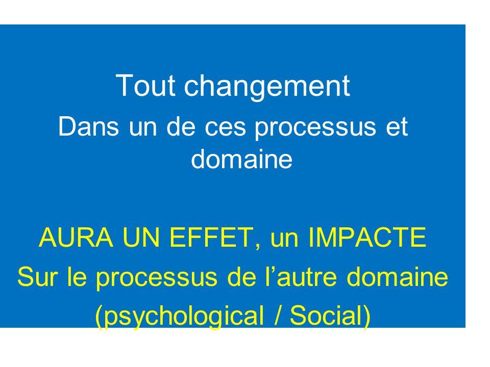 Tout changement Dans un de ces processus et domaine AURA UN EFFET, un IMPACTE Sur le processus de lautre domaine (psychological / Social)