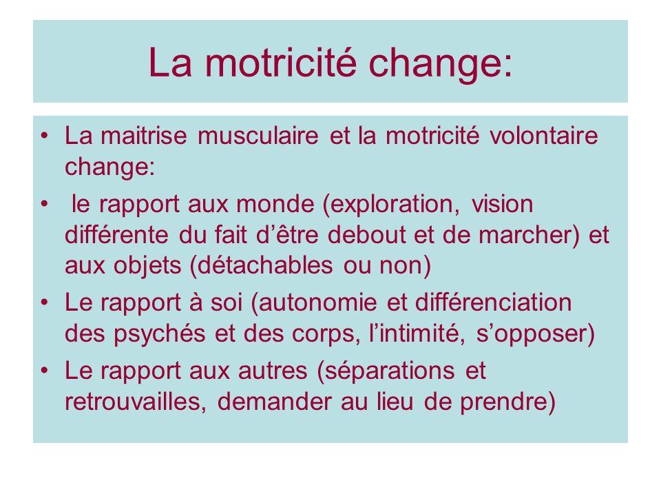 La motricité change: La maitrise musculaire et la motricité volontaire change: le rapport aux monde (exploration, vision différente du fait dêtre debo