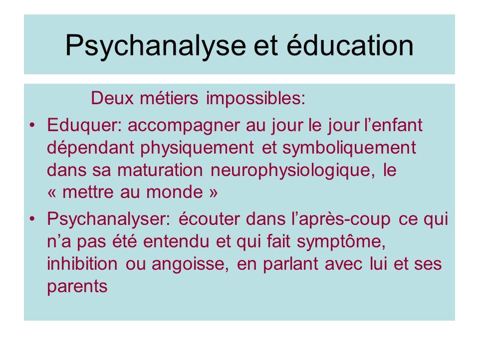 Psychanalyse et éducation Deux métiers impossibles: Eduquer: accompagner au jour le jour lenfant dépendant physiquement et symboliquement dans sa matu
