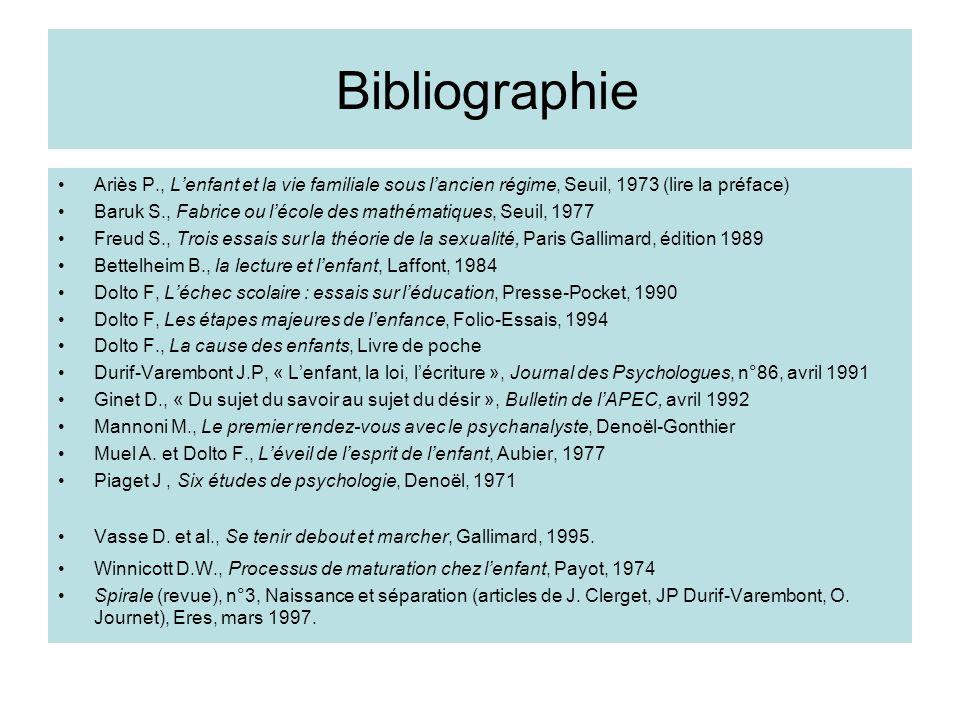 Bibliographie Ariès P., Lenfant et la vie familiale sous lancien régime, Seuil, 1973 (lire la préface) Baruk S., Fabrice ou lécole des mathématiques,