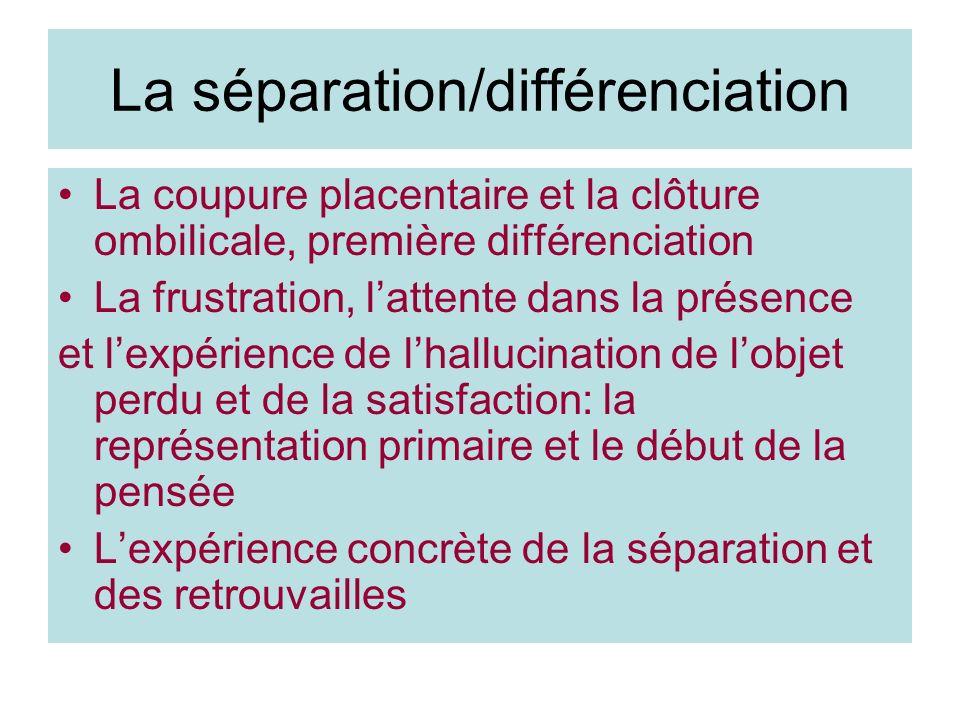 La séparation/différenciation La coupure placentaire et la clôture ombilicale, première différenciation La frustration, lattente dans la présence et l