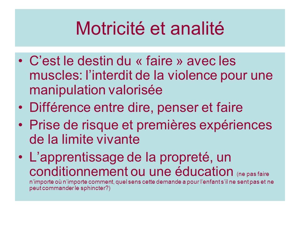 Motricité et analité Cest le destin du « faire » avec les muscles: linterdit de la violence pour une manipulation valorisée Différence entre dire, pen