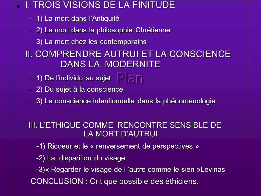 I. TROIS VISIONS DE LA FINITUDE I. TROIS VISIONS DE LA FINITUDE -1) La mort dans lAntiquité 2) La mort dans la philosophie Chrétienne 2) La mort dans