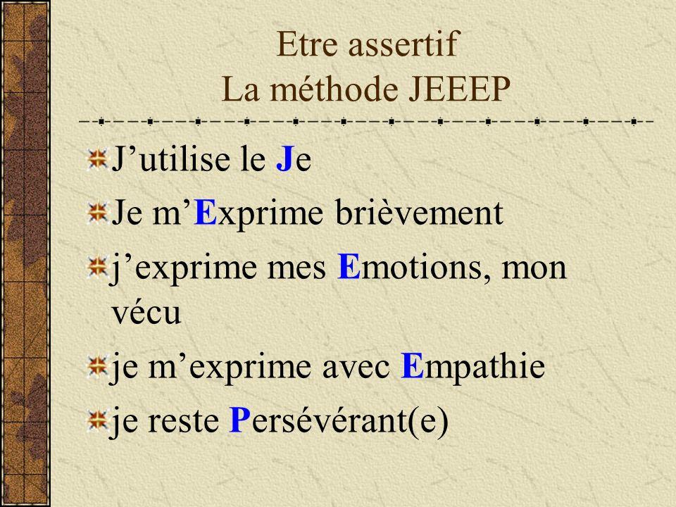 Etre assertif La méthode JEEEP Jutilise le Je Je mExprime brièvement jexprime mes Emotions, mon vécu je mexprime avec Empathie je reste Persévérant(e)