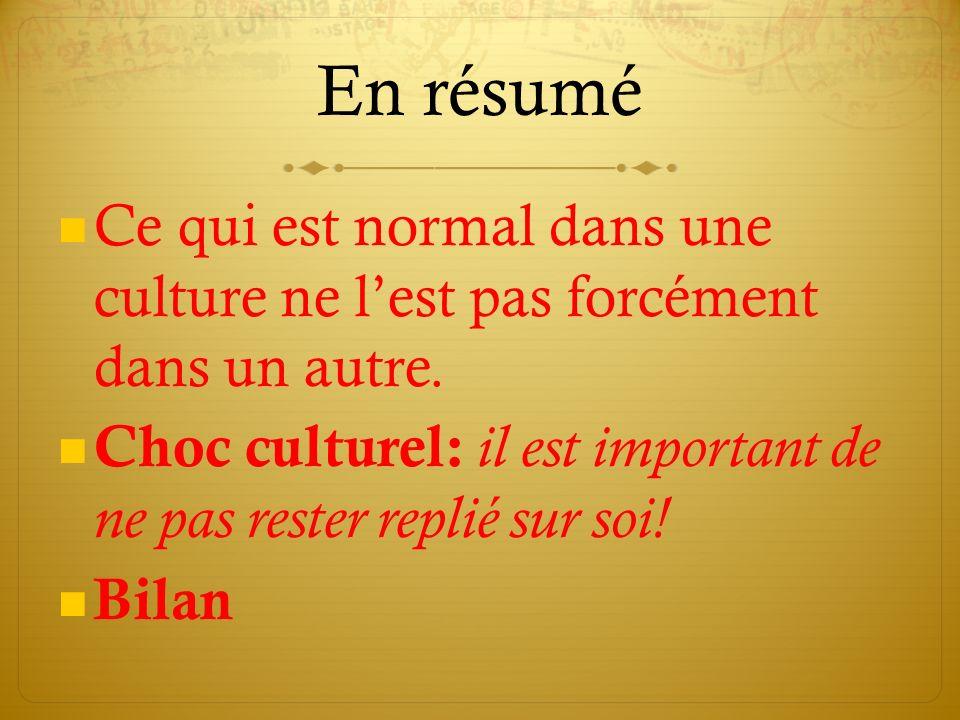 En résumé Ce qui est normal dans une culture ne lest pas forcément dans un autre.