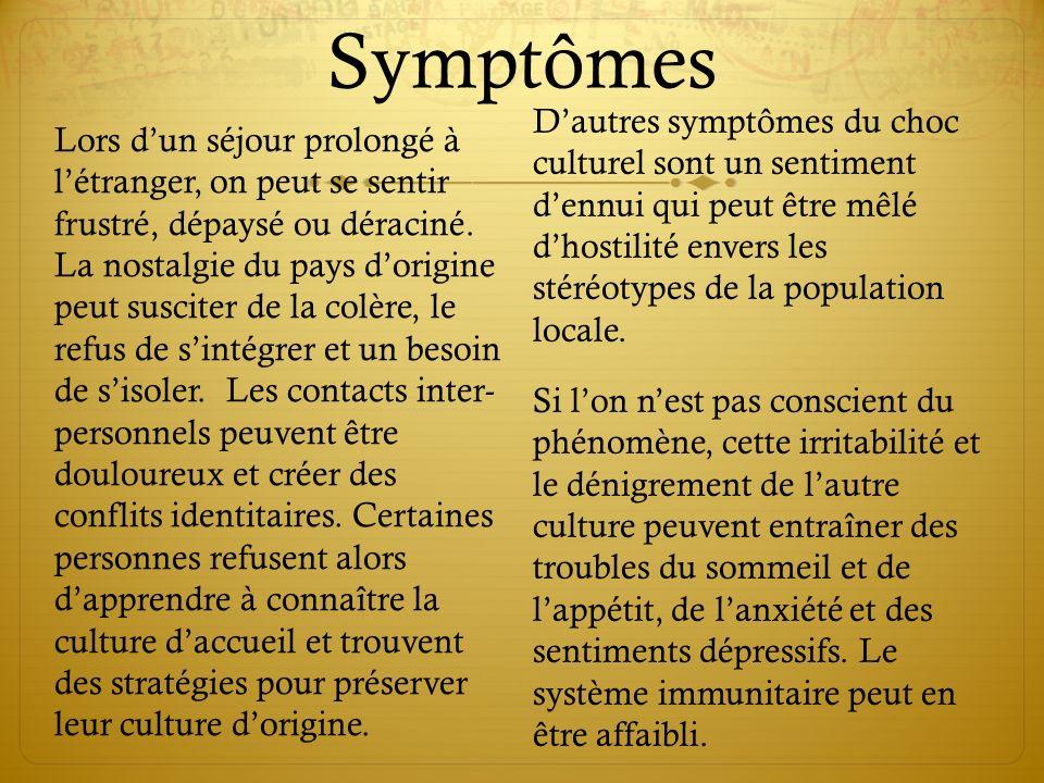 Symptômes Lors dun séjour prolongé à létranger, on peut se sentir frustré, dépaysé ou déraciné.