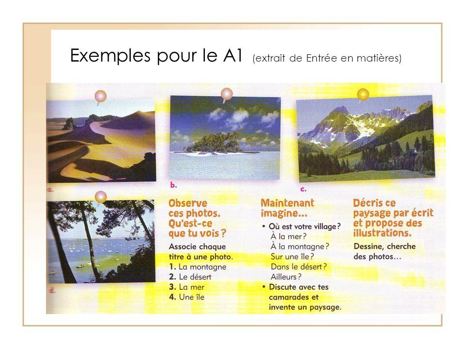 Exemples pour le A1 (extrait de Entrée en matières)
