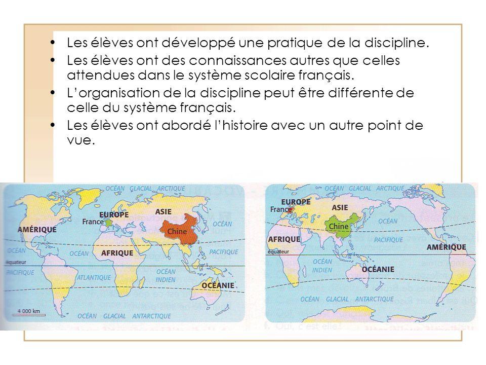 Les élèves ont développé une pratique de la discipline. Les élèves ont des connaissances autres que celles attendues dans le système scolaire français