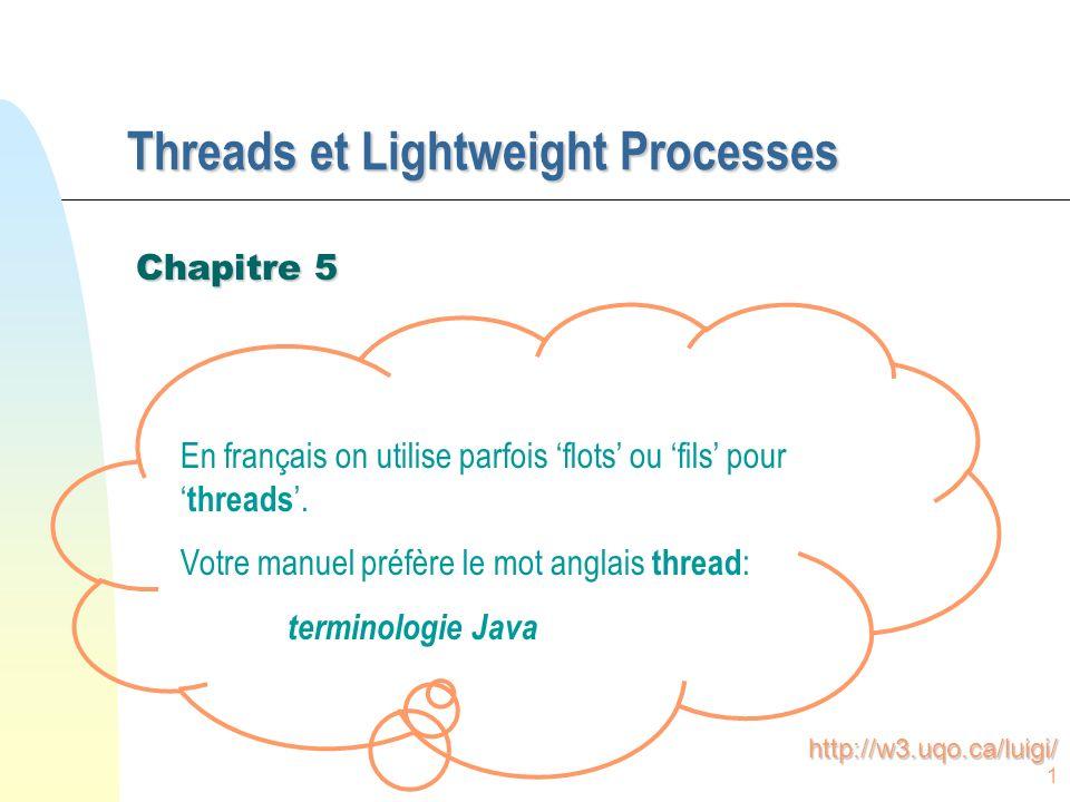 1 Threads et Lightweight Processes Chapitre 5 En français on utilise parfois flots ou fils pour threads.