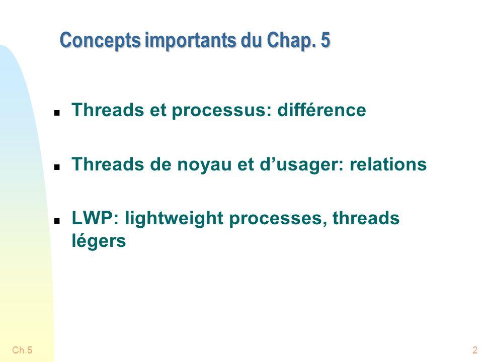 Ch.523 Utilisation des LWP n Quand un thread usager fait un appel au SE, p.ex.