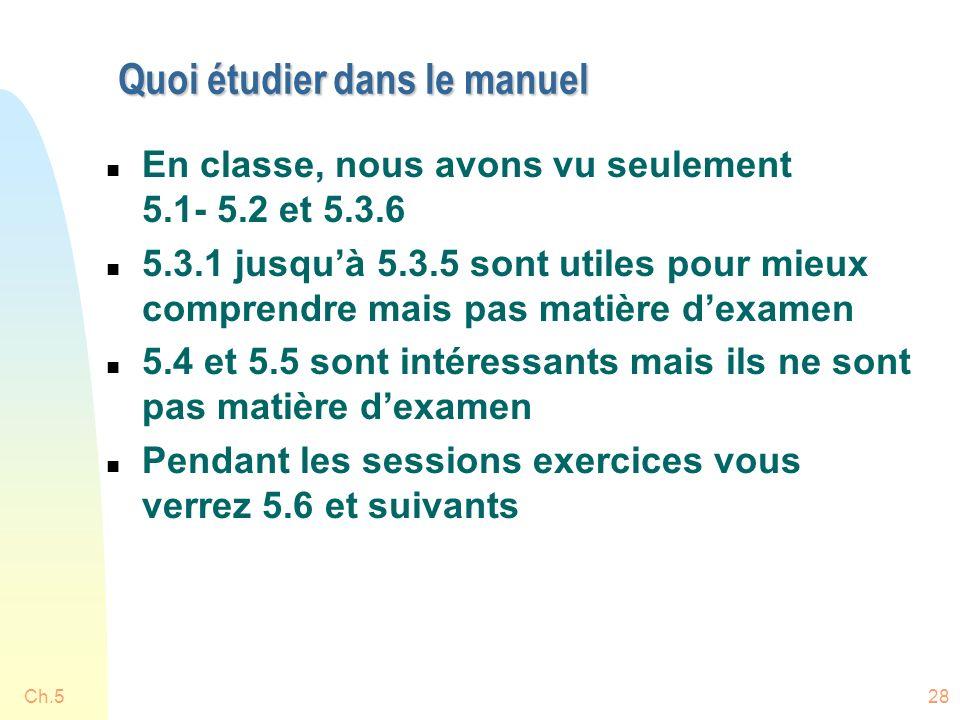 Ch.528 Quoi étudier dans le manuel n En classe, nous avons vu seulement 5.1- 5.2 et 5.3.6 n 5.3.1 jusquà 5.3.5 sont utiles pour mieux comprendre mais pas matière dexamen n 5.4 et 5.5 sont intéressants mais ils ne sont pas matière dexamen n Pendant les sessions exercices vous verrez 5.6 et suivants