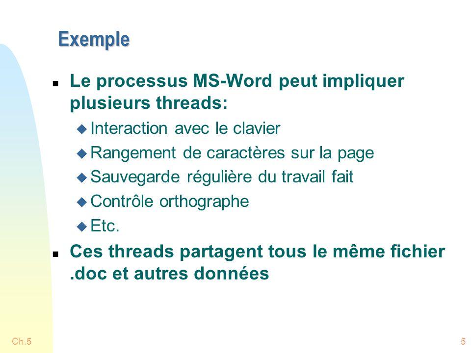 Ch.55 Exemple n Le processus MS-Word peut impliquer plusieurs threads: u Interaction avec le clavier u Rangement de caractères sur la page u Sauvegarde régulière du travail fait u Contrôle orthographe u Etc.