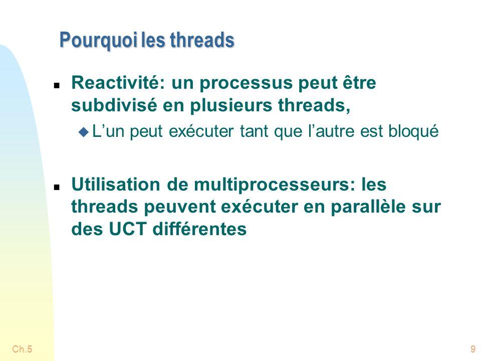 Ch.520 Processus légers (lightweight, LWP) n Implémentent le concept dUCT virtuelle, pouvant exécuter des threads niveau usager n Il y a un thread noyau pour chaque LWP, chaque LWP est lié à son propre thread noyau n Si un thread noyau bloque, ses LWPs et ses threads usagers bloquent aussi n Chaque processus doit être affecté au moins à un LWP n La bibliothèque des threads exécute les threads utilisateur sur les LWP disponibles n Seulement les threads usager qui sont associés à un LWP peuvent exécuter, les autres sont bloqués u similarité avec ordonnancement UCT UCT