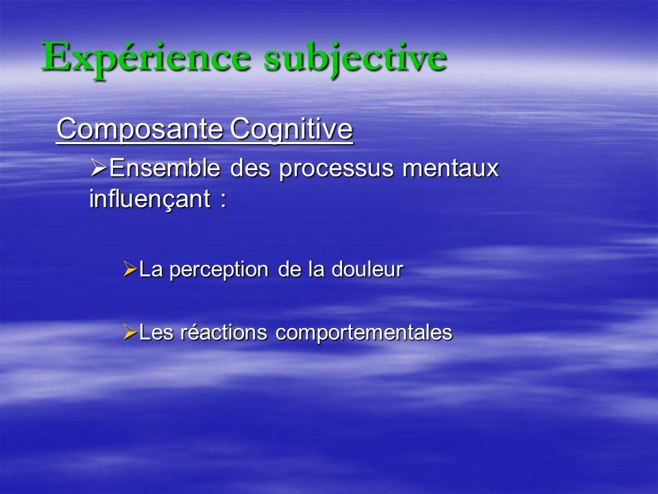 Composante Cognitive Ensemble des processus mentaux influençant : Ensemble des processus mentaux influençant : La perception de la douleur La perception de la douleur Les réactions comportementales Les réactions comportementales Expérience subjective